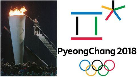 OL I NORGE OG OL I SØR-KOREA: Kronprins Håkon tenner OL-ilden på Lillehammer i 1994. Til høyre er årets logo.