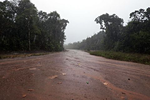 OMSTRIDT VEI: Den nye, 85 kilometer lange veien inn mot det planlagte kraftverket er allerede ferdig. Mange frykter at den nye veien også vil åpne for storstilt utvinning av tømmer og mineraler, noe myndighetene tilbakeviser.