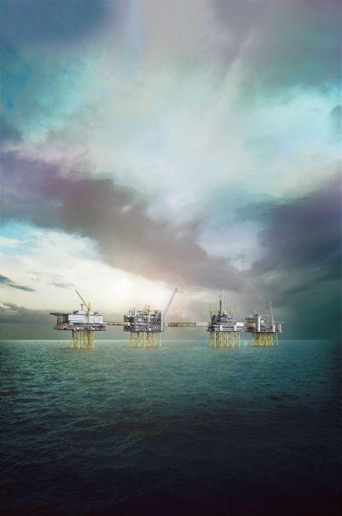 Illustrasjon av de planlagte oljeplattformene i Nordsjøen.