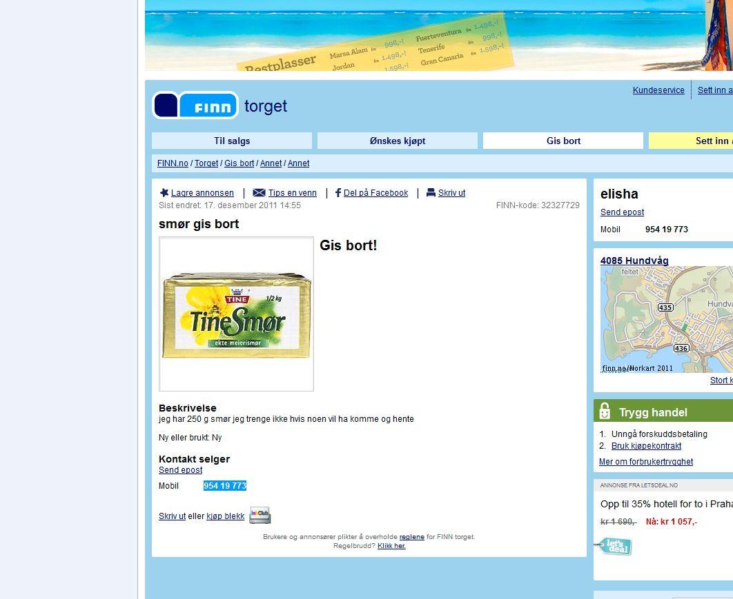 52c6c572 Denne annonsen ble lagt ut på finn.no ved 14.00-tiden lørdag. Det tok ikke  lang tid for annonsøren å bli kvitt smøret. (Skjermdump fra finn.no)