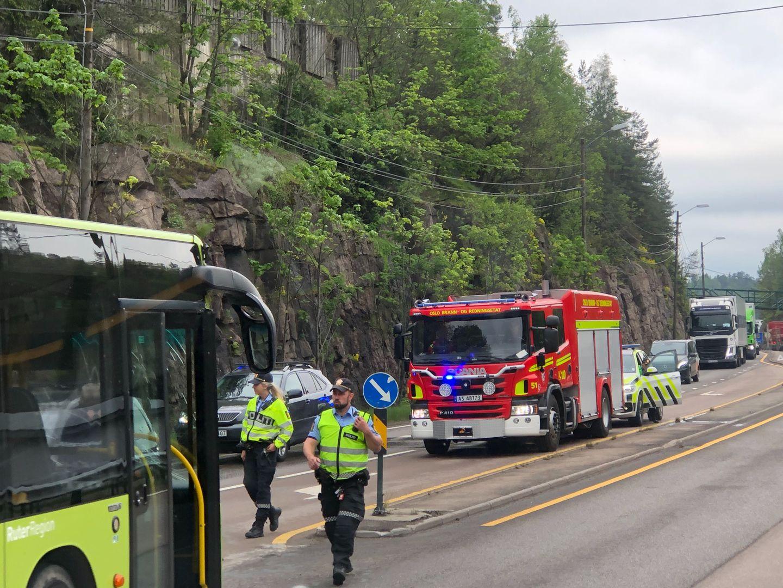 Buss mot bil på Gjelleråsen