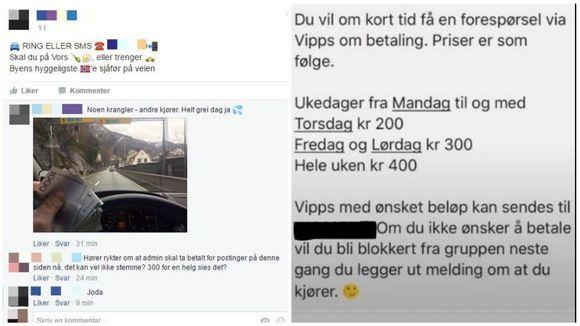 ab5e23e9 SVARTE PENGER: Bildet til venstre ble lagt ut torsdag ettermiddag, hvor  mannen viser frem penger og skriver «noen krangler, andre kjører. Helt grei  dag ja».