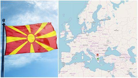 Det blå punktet markerer Bergen, det røde Makedonia og det grønne Hellas.