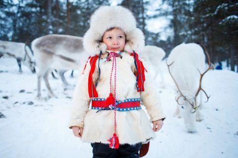 MATER REINSDYR: Treåringen Tor Mikael Eira går i en reinsdriftbarnehage, der de mater reinsdyr én gang i uken!