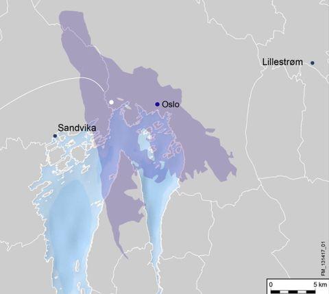 Feltets størrelse sammenlignet med Oslo-regionen