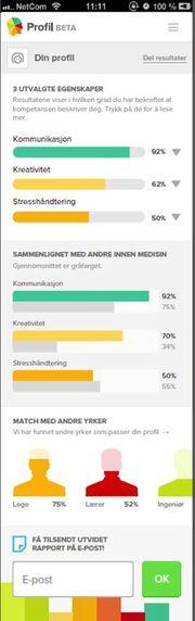 ba9f11b5 Slik kan resultatet ditt se ut etter å ha svart på 30 spørsmål i  Aftenpostens nye jobbtest. Resultatet viser hvilke egenskaper som utmerker  deg, ...