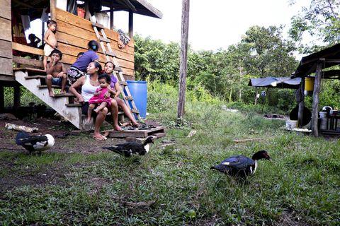 INGEN TIDSKLEMME: En helt vanlig ettermiddag i Chenapou, en av landsbyene der Patamona-indianerne lever. De fleste familiene i området har mange barn, og noen av dem har også spektakulære navn. Her er kvinner og barn i familien Skybar samlet foran huset i regnskogen. Ann (til v.) og Princess Skybar har funnet roen sammen med noen av storfamiliens yngste medlemmer.