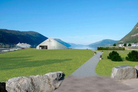 SIGNATURUTSIKT: Dette skal bli den nye «signaturutsikten» til Nordfjordeid. Sagaparken til høgre er nett opna. Det nye naustet til Myklebustskipet (til v.) skal bli eit vitensenter for vikingkulturen i Nordfjord og er planlagt opna i april 2019.