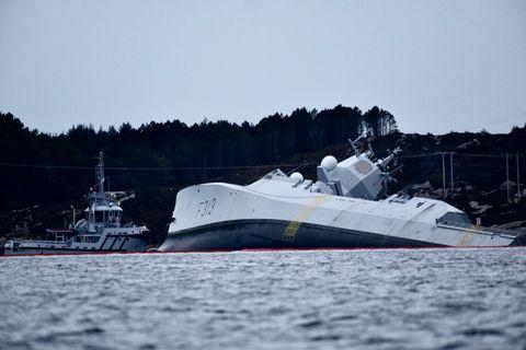PÅ VEI FRA ØVELSE: Fregatten KNM «Helge Ingstad» var på vei fra øvelsen «Trident Juncture» da den kolliderte med en tankbåt i natt.