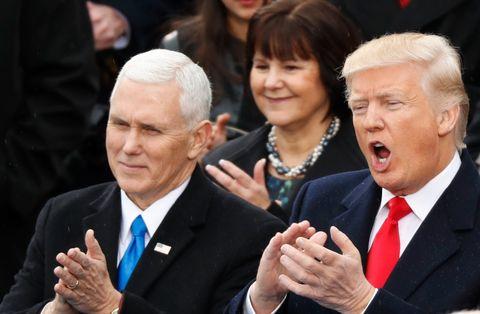 Visepresident Mike Pence (til v.) og president Donald Trump.