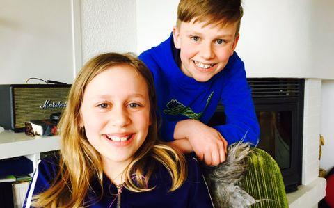 SYKDOM I FAMILIEN: Kaja (10) og Endre (12) opplevde at pappaen deres fikk kreft. De har noen gode råd til andre som opplever det samme.