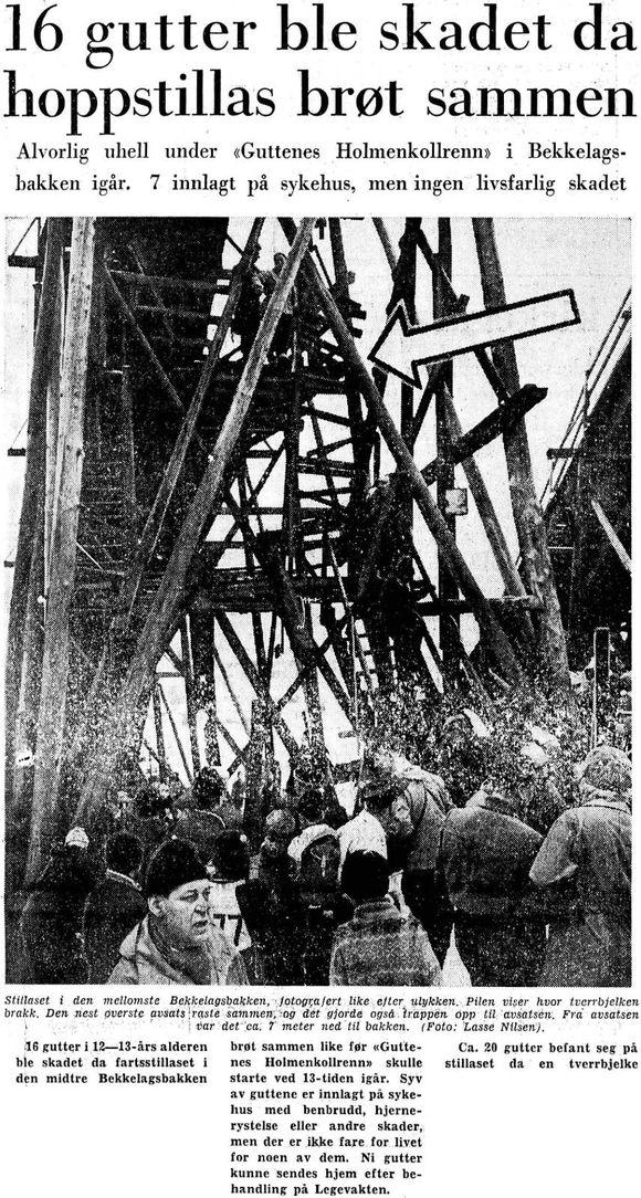 e823a621 Aftenpostens oppslag 7. mars 1960, dagene etter at Mellomste Bækker'n falt,  og norsk hoppsport begynte å dø.