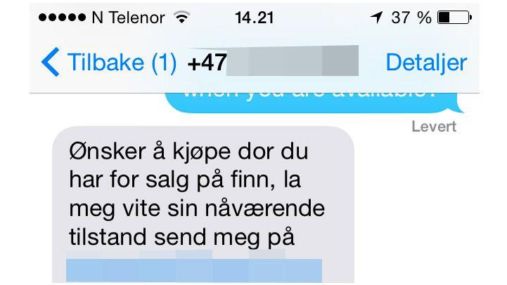 aa47f51f Finn.no advarer mot kjøpere som sender tekstmeldinger fra utenlandske  nummer på engelsk eller dårlig norsk og ber om svar på e-post. Skjermdump