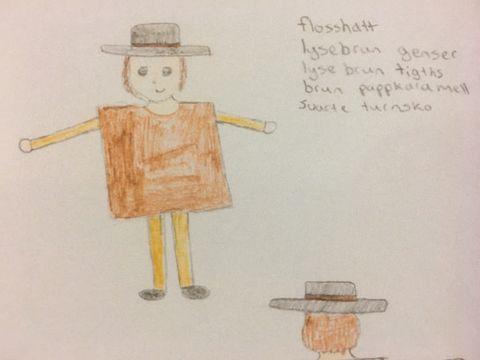 TEGNET SKISSER: Jentene tegnet skisser for hvordan de så for seg kostymer og kulisser til forestillingen. Her er Karamellusene.