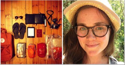 16-LITERS SEKK: Christine Frang bestemte seg for å pakke alt hun trengte i en liten Fjellräven-sekk. Det klarte hun.