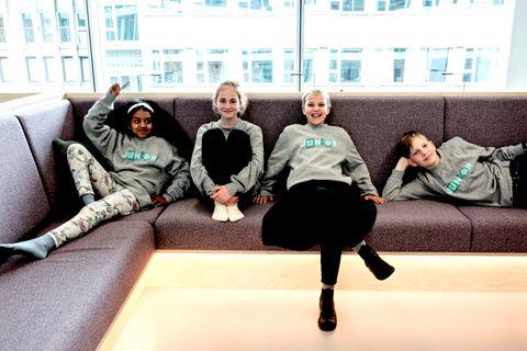JUNIORREPORTERNE: Mangai (10), Synnøve (11), Hermine (10) og Nikolai (13) er BT Juniors nye juniorteam.