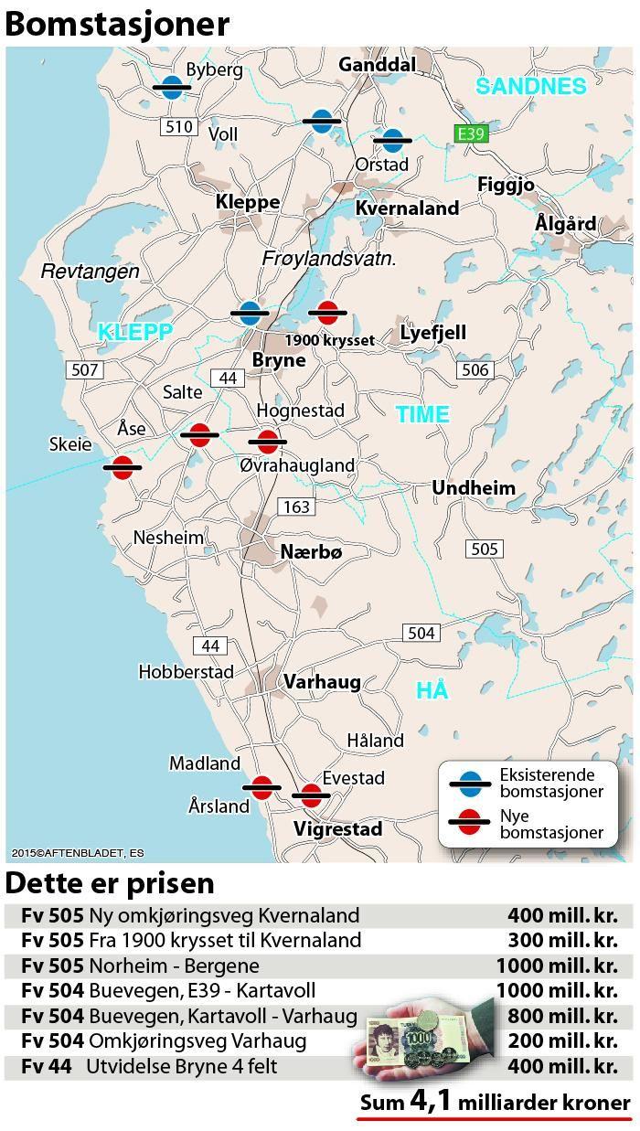 bompenger kart Dette kan bli de nye bommene på Jæren   Stavanger Aftenblad
