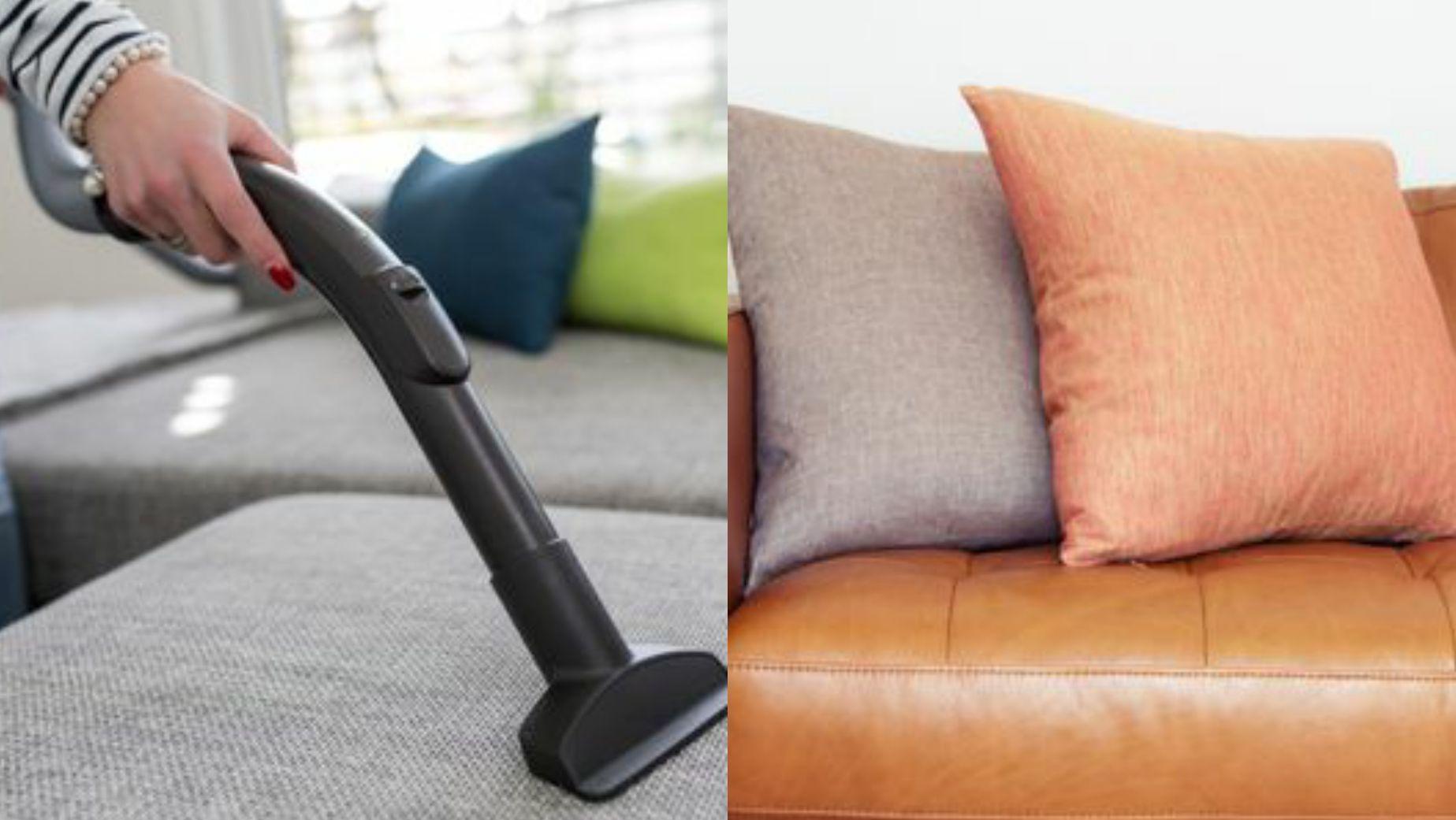 634a9240 SAMLER STØV: Ru overflater, som på sofaen til venstre, samler mer støv enn  glatte overflater. De glatte er dessuten enklere å rengjøre, ifølge  eksperten.