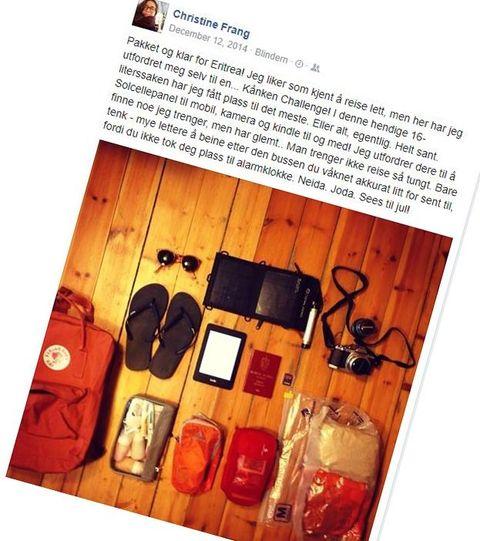 PAKKER ALLTID LITE: – Jeg liker som kjent å reise lett, men her har jeg utfordret meg selv til en... Kånken Challenge! I denne hendige 16-literssaken har jeg fått plass til det meste. Eller alt, egentlig. Helt sant. Solcellepanel til mobil, kamera og Kindle til og med! skriver Christine om bildet hun delte på Facebook før reisen.