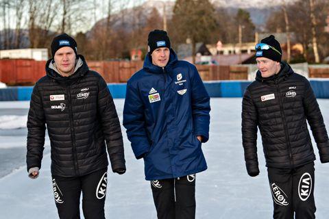 SKØYTEKOMPISER: Sindre Henriksen, Håvard Lorentzen og Sverre Lunde Pedersen.