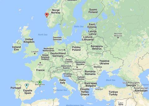 BARCELONA: Kartet viser hvor Barcelona (grønt punkt) er i forhold til Bergen (rødt punkt) og hovedstaden i Spania, Madrid (blått punkt).