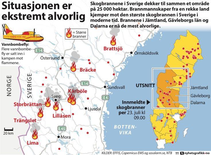 kart skogbrann sverige Sverige: – Brannen er et skikkelig beist   Aftenposten kart skogbrann sverige