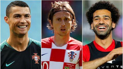 STJERNER: Cristiano Ronaldo (fra v.), Luka Modric og Mohamed Salah er blant de aller største stjernene i VM.