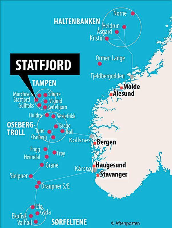 kart oljefelt norge Stort oljeutslipp i Nordsjøen   Aftenposten kart oljefelt norge