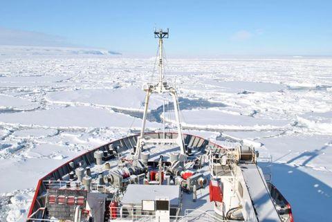 BÅTIS: Slik ser det ut i Antarktis. Rundt på isflakene så de ofte pingviner og seler.