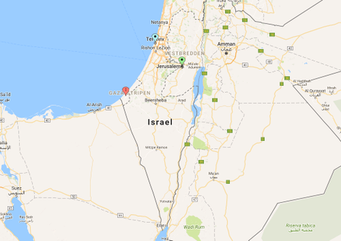 ISRAEL: Det røde punktet viser området Gaza-stripen, det blå punktet markerer byen Tel Aviv og det grønne punktet viser hvor hovedstaden Jerusalem ligger.