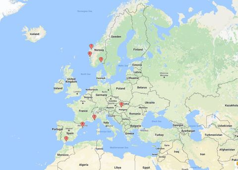 PÅ FERIE I EUROPA: Punktene på kartet viser hvor Brann-spillerne var på ferie.