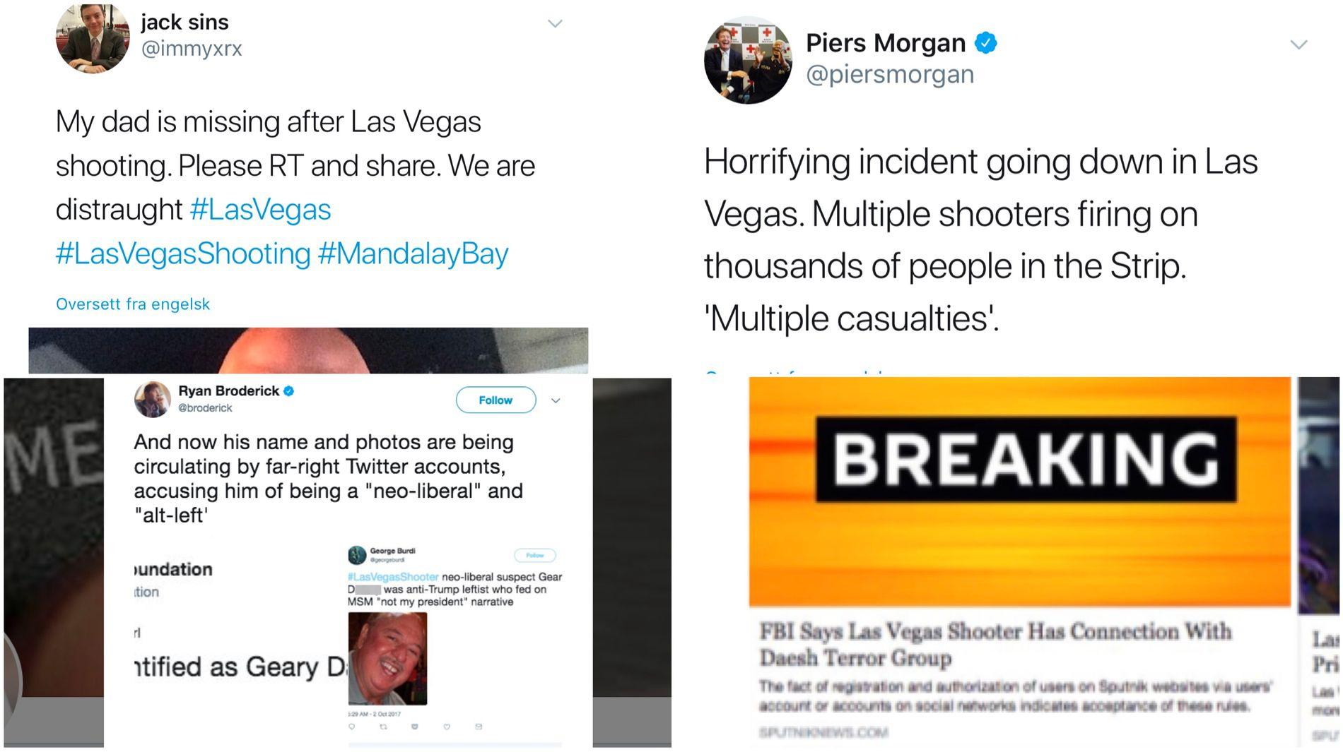 Falske Nyheter Ryktespredning Og En Heksejakt Pa Feil Person Etter Las Vegas Massakren Ble Ekte Og Falsk Informasjon Sauset Sammen