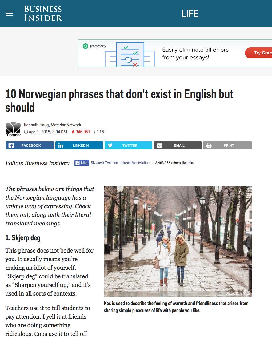 Amerikansk forretningsavis savner disse ti norske uttrykkene