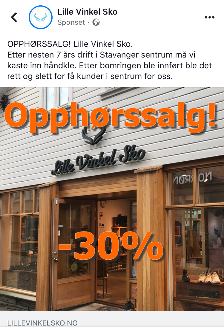 Lille Vinkel Sko i Stavanger legger ned